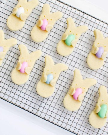cute bunny hug cookies on cooling rack