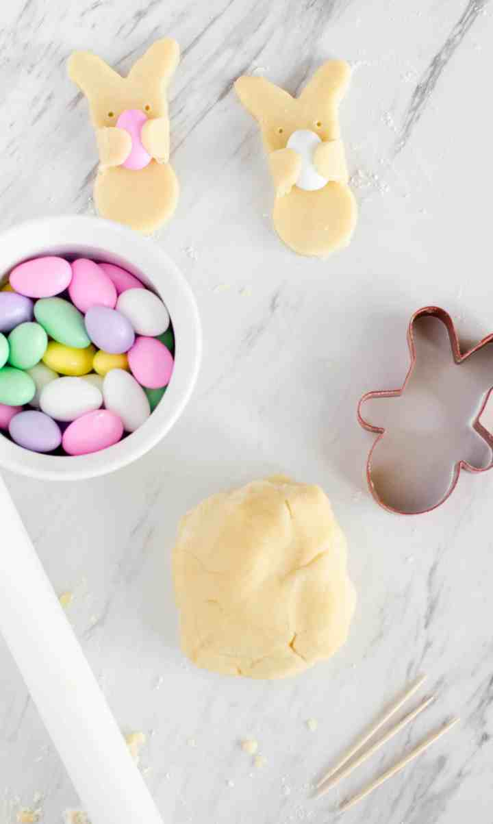 supplies for Easter bunny cookies