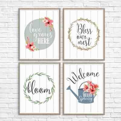 5 Printable Spring Wall Art Farmhouse Style Prints