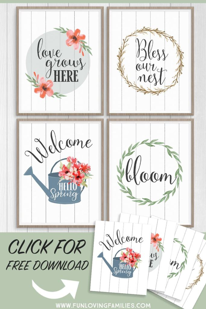 Free farmhouse wall art prints for Spring! Say hello spring with these 8x10 prints you can download and print at home for cheap and easy Spring decor. #hellospring #springdecor #farmhousedecor #springfarmhouse