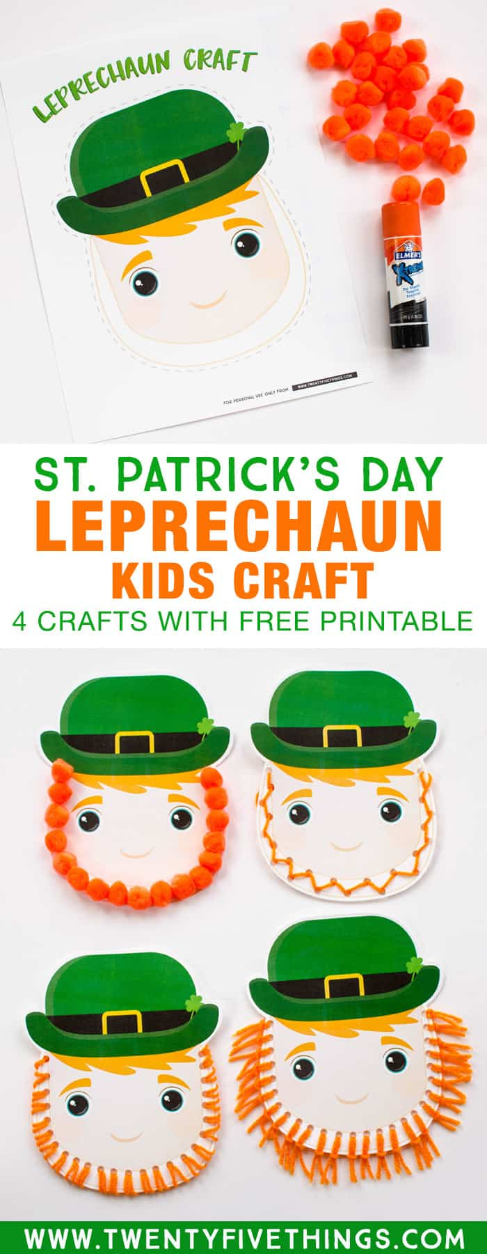 Learn how to make this easy Leprechaun kids craft four different ways. Use the free printable to make this kids craft for St. Patrick's Day! #StPatricksDay #FreePrintable #KidsCraft