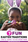 Fun Easter traditions with image of child holding decorated eggs