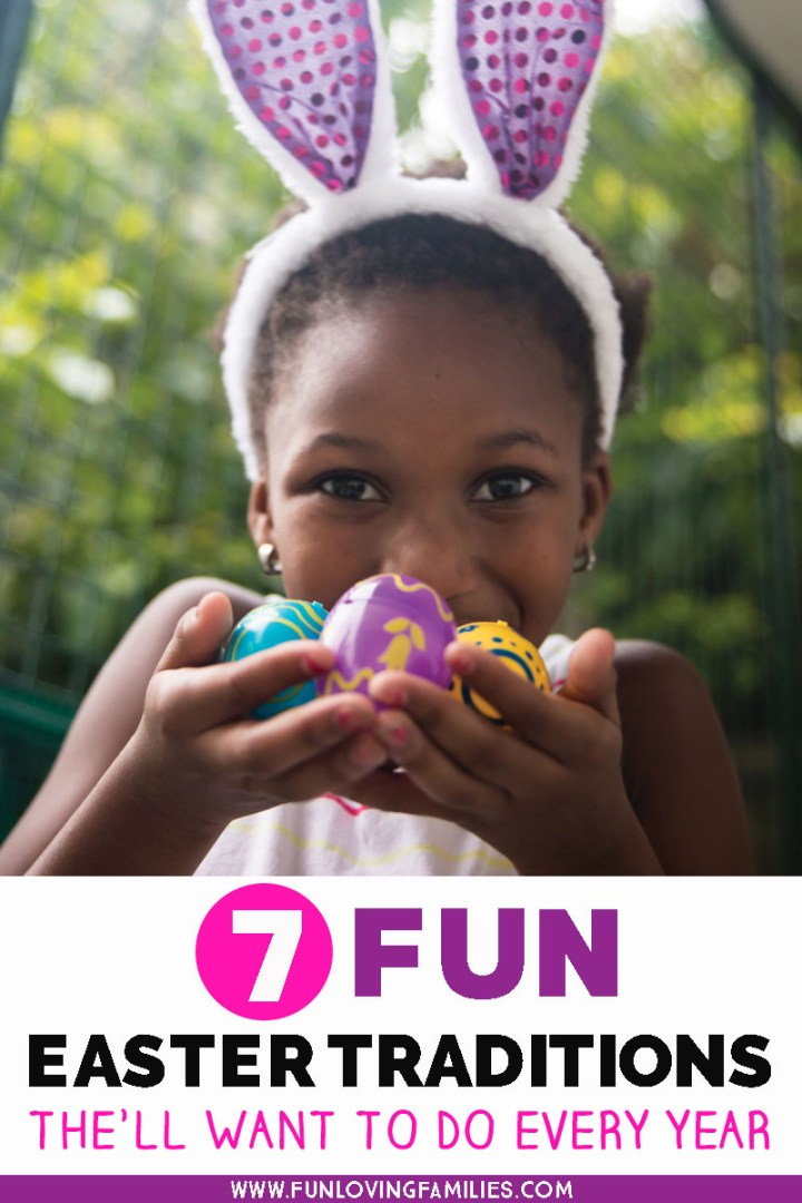 Easter traditions image with girl holding decorated eggs