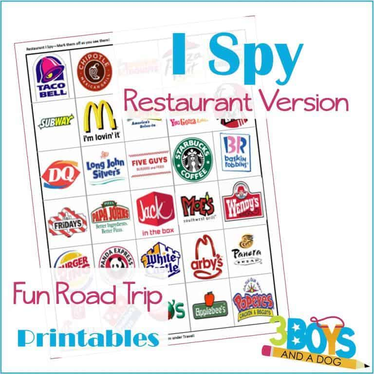 Use this printable Restaurant I Spy game from 3 Boys and a Dog on your next long road trip. Click through to see 24 more fun road trip games for kids.