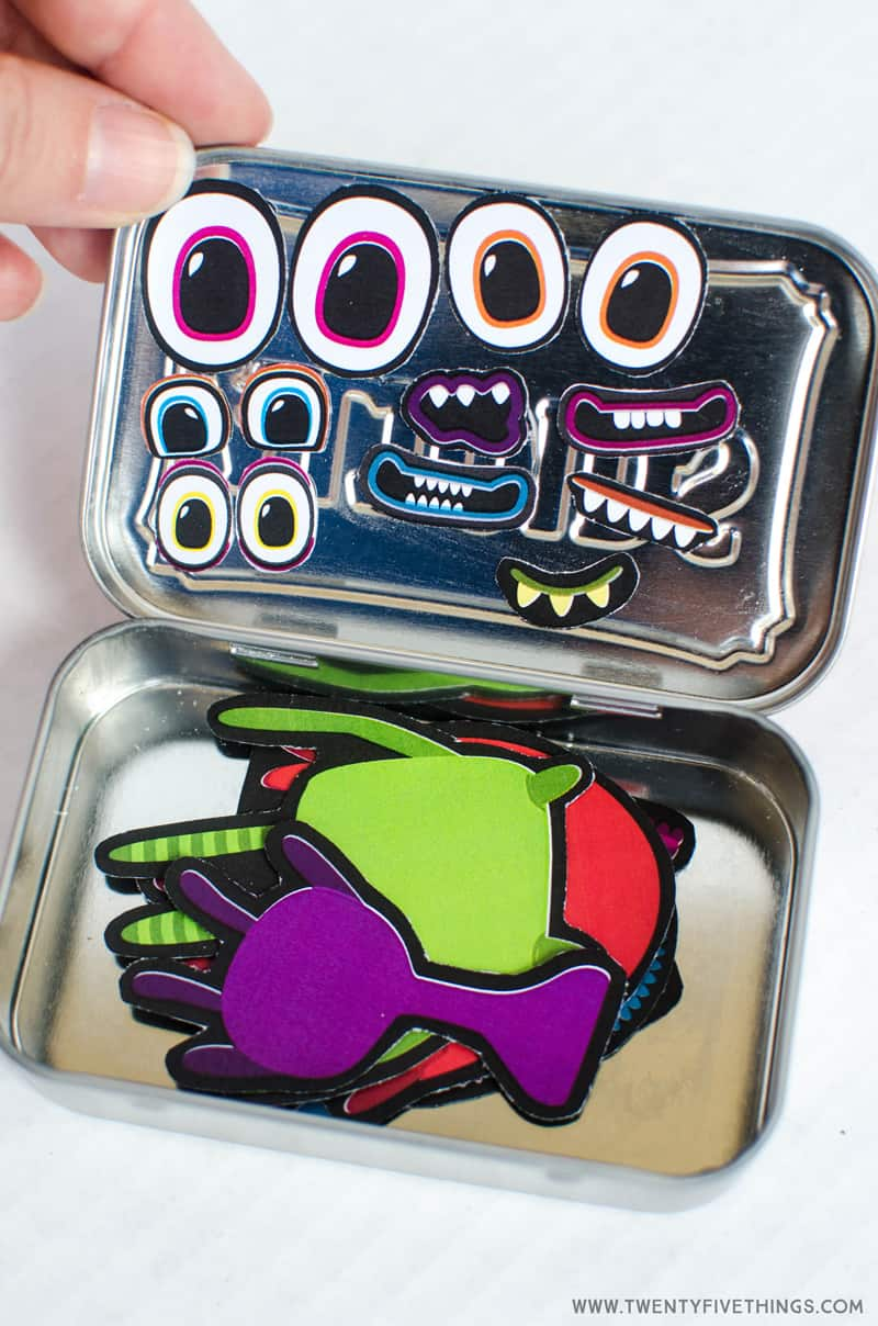 Use the free printable to create this adorable travel activity for kids. Make a monster activity Altoid tin DIY.