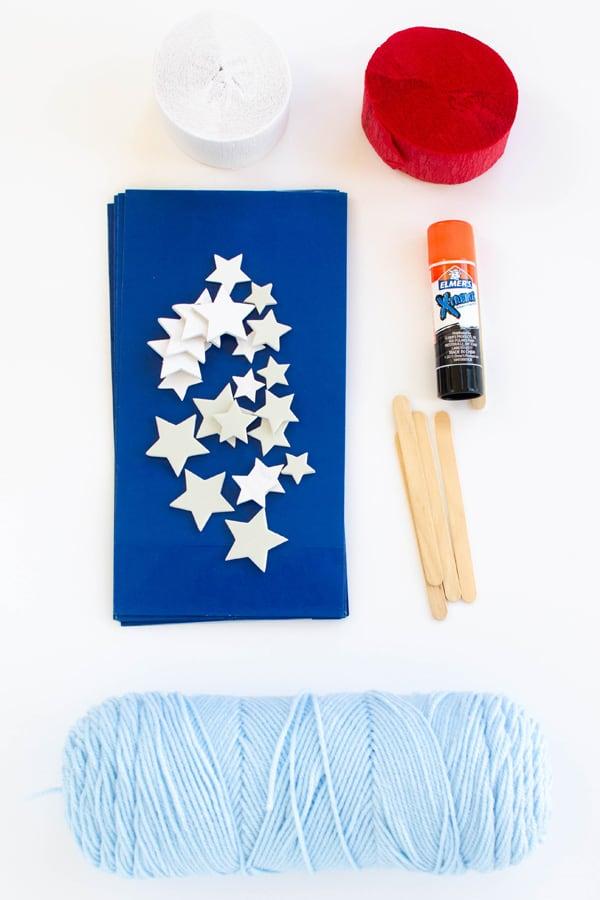 Supplies for making patriotic flag kite.