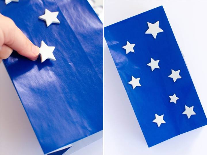 first step to making a flag kite is adding the stars.