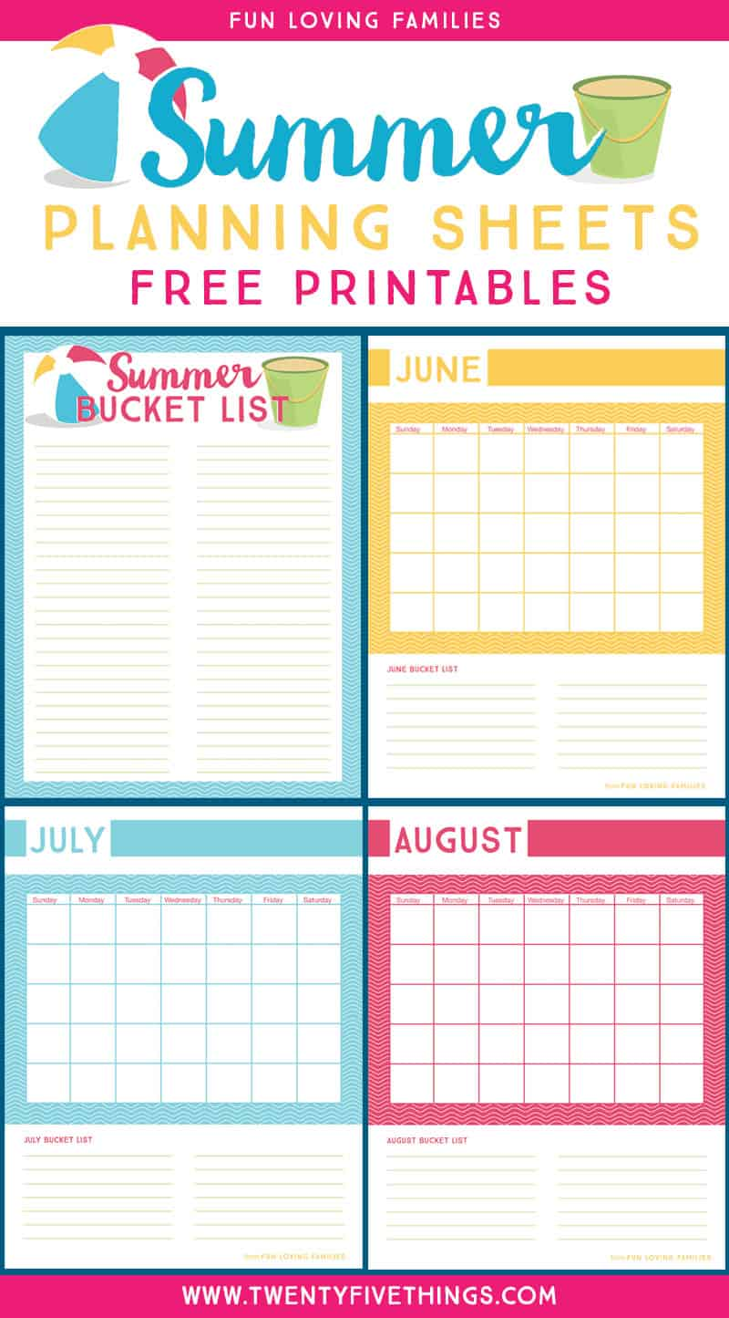 Download our free Summer Planning printables to create a Summer Bucket list full of fun for the kids.
