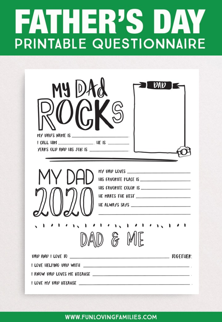 All about dad printable questionnaire PDF
