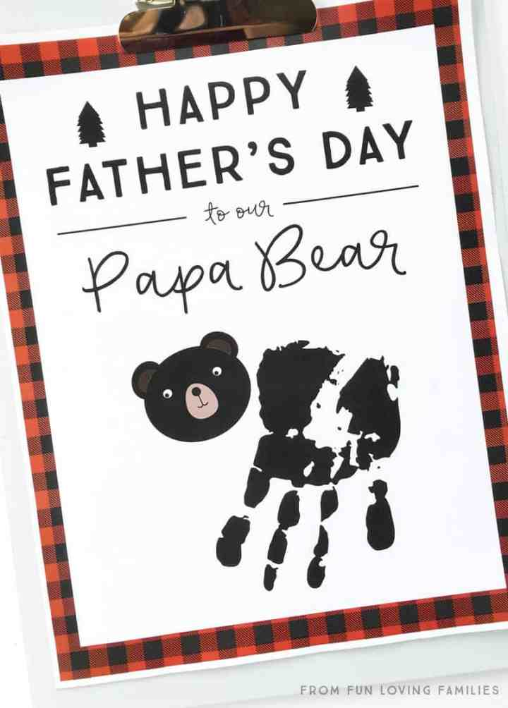 Papa bear handprint idea for fathers day