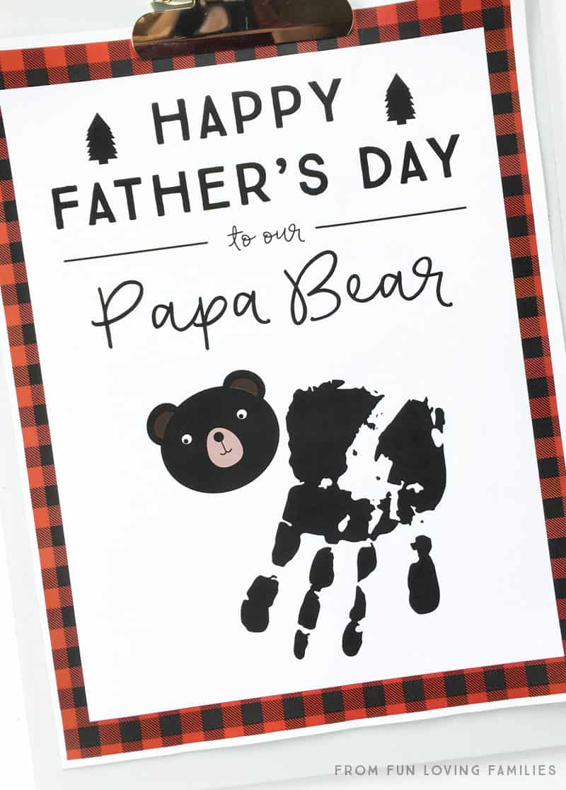 Download our free printable and make a sweet Father's Day handprint craft for your Papa Bear.