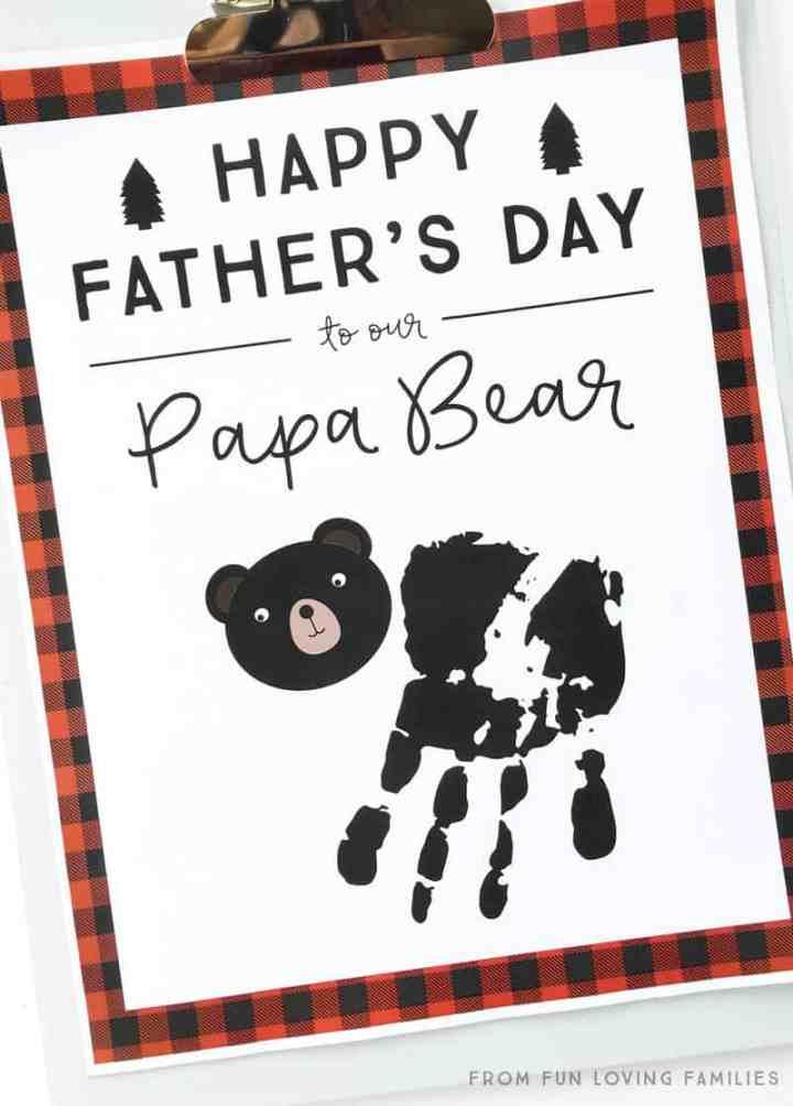 Papa bear handprint idea for fathers day