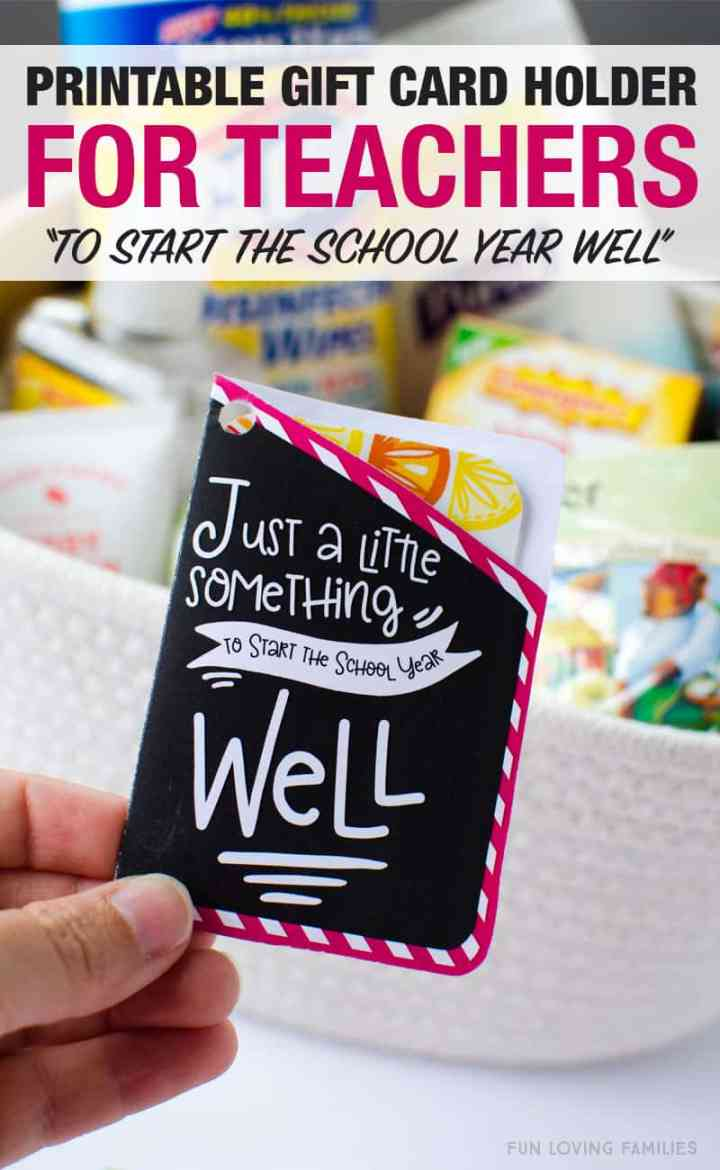 Free printable gift card holder for a teacher wellness gift on the first day of school.