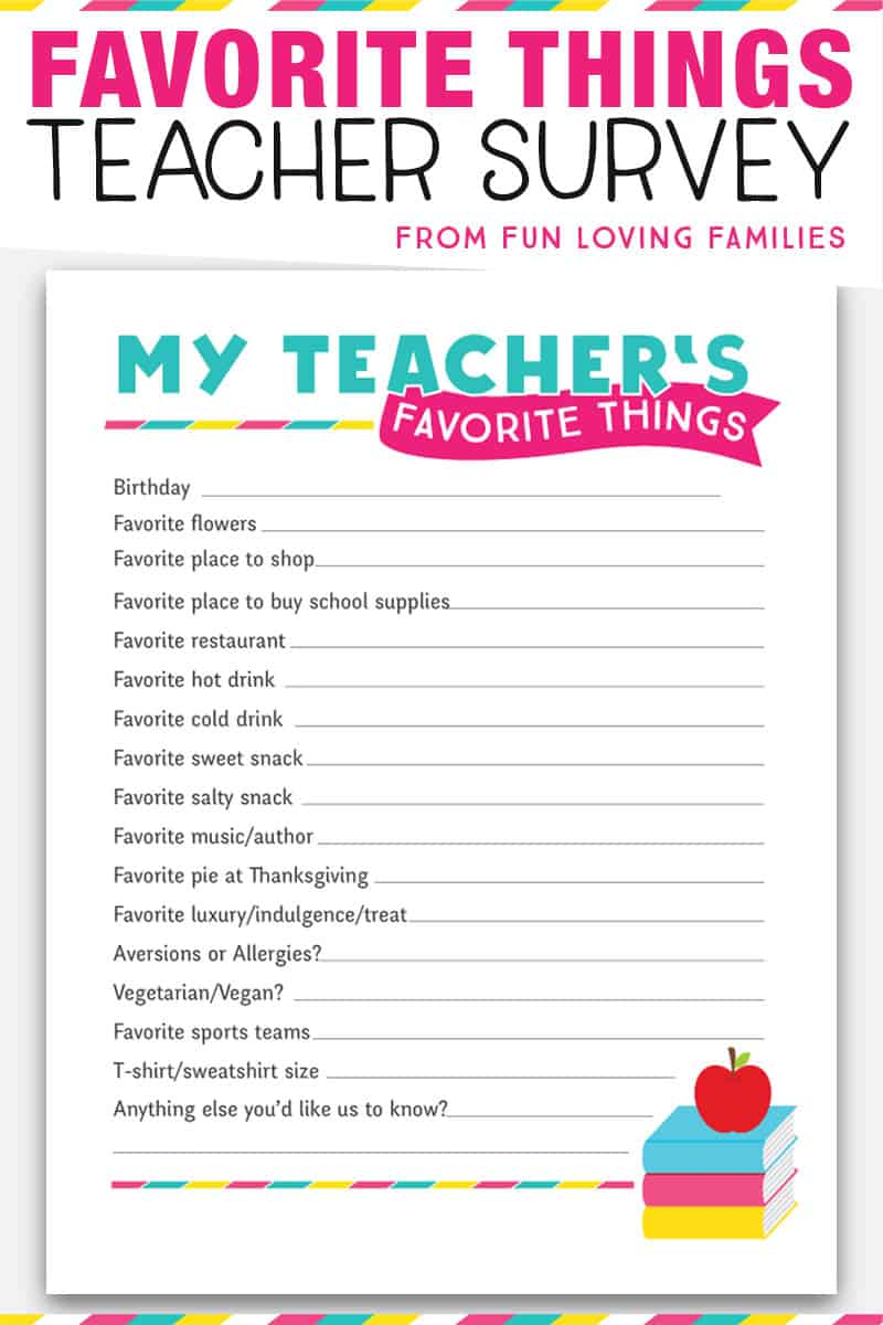 Teacher's Favorite Things survey. Free printable questionnaire to print at home and give to your new teacher. Perfect for getting teacher gift ideas. #teacherfavoritethings #teachersurvey #teacherquestionnaire #freeprintable #teachergiftideas