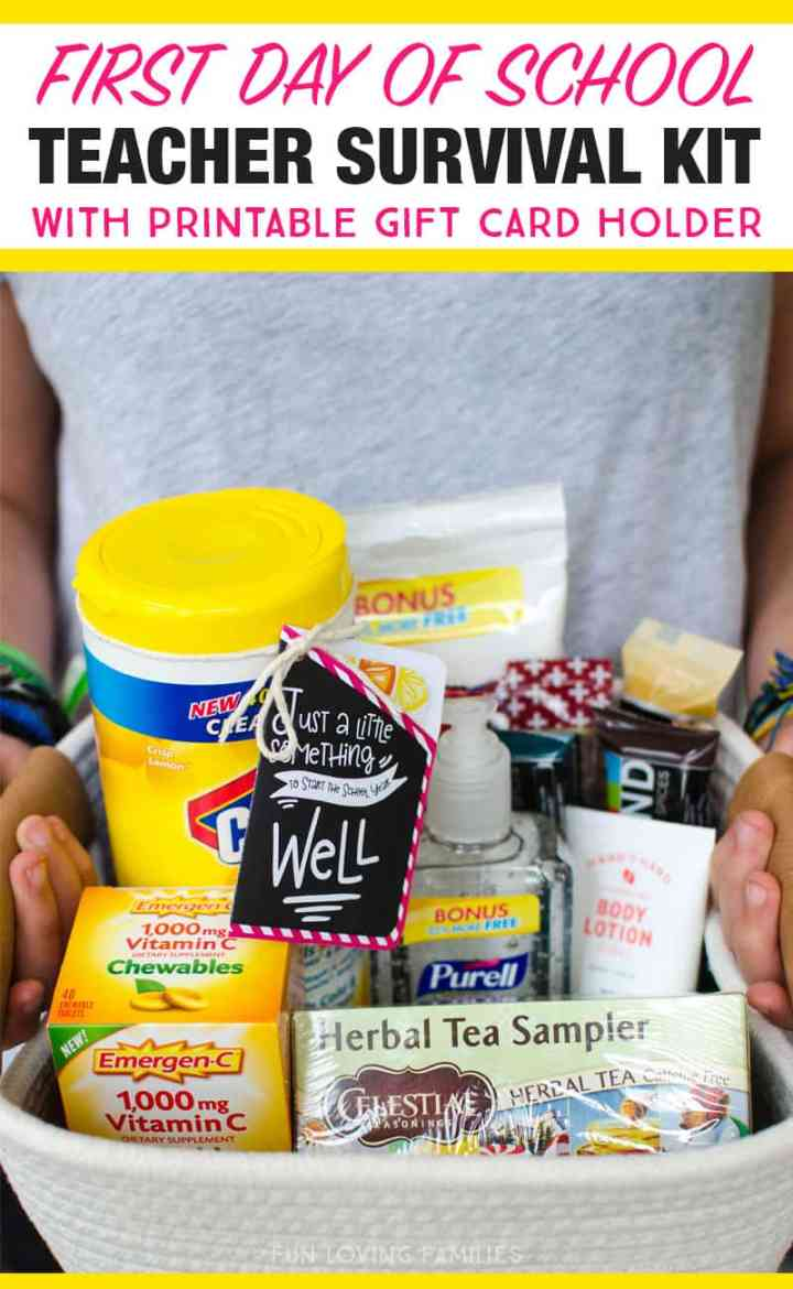 We made a teacher survival kit for the first day of school with lots of goodies to keep the teachers happy and healhty. Printable gift card holder is available to download.