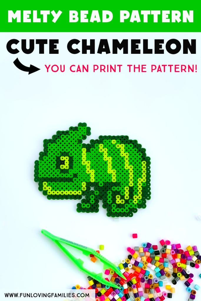 cute chameleon made from perler beads