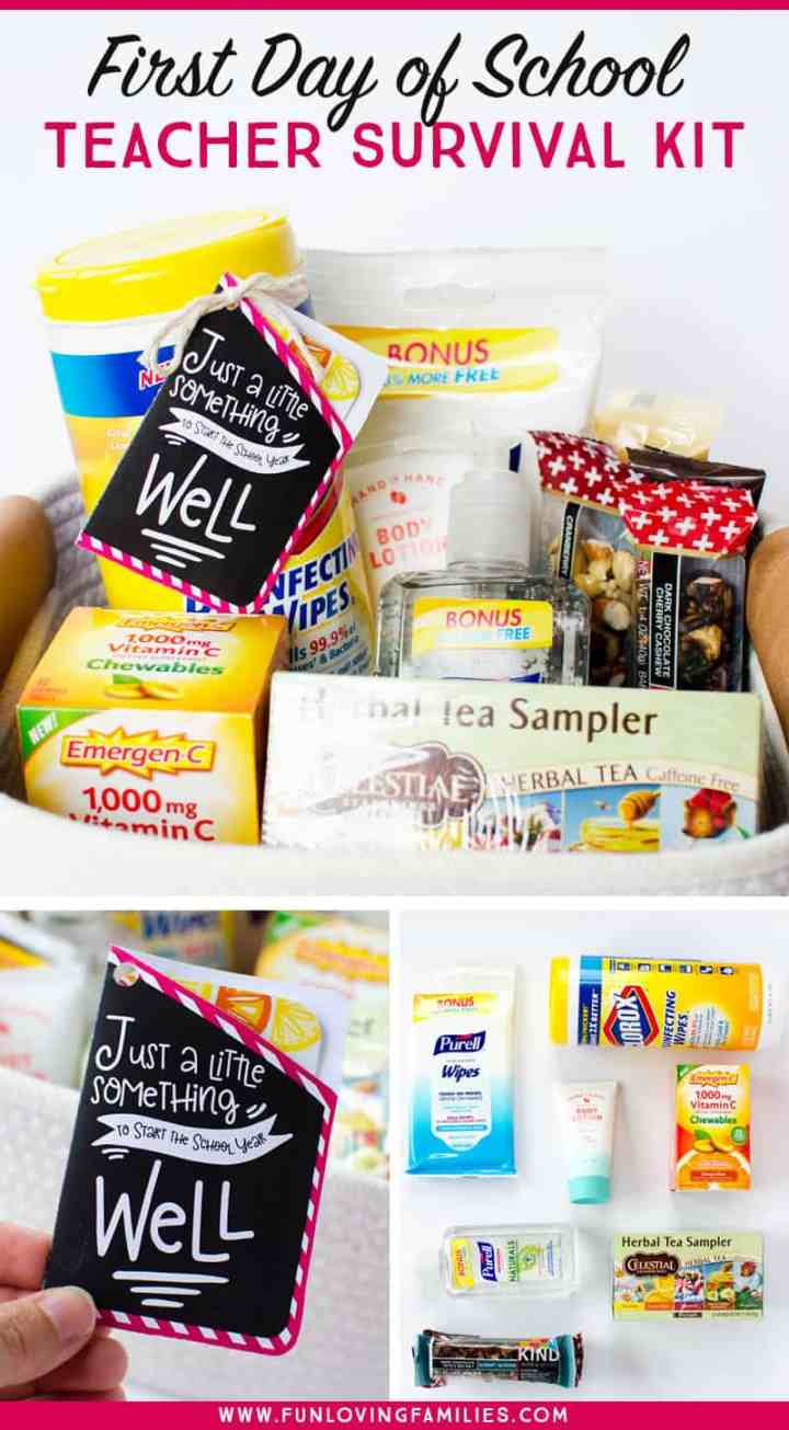 A teacher survival kit for the first day of school is so easy to put together and your kid's teacher will love it! This teacher gift basket is loaded with goodies that will keep the teacher happy and healthy. Like a little back-to-school wellness basket for teachers!