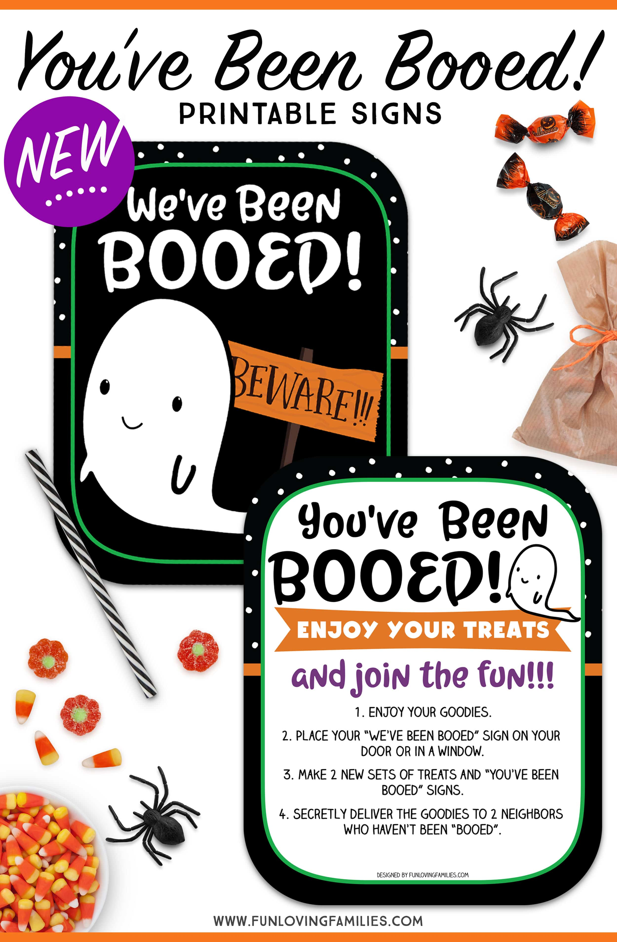 printable signs for Halloween Booed game