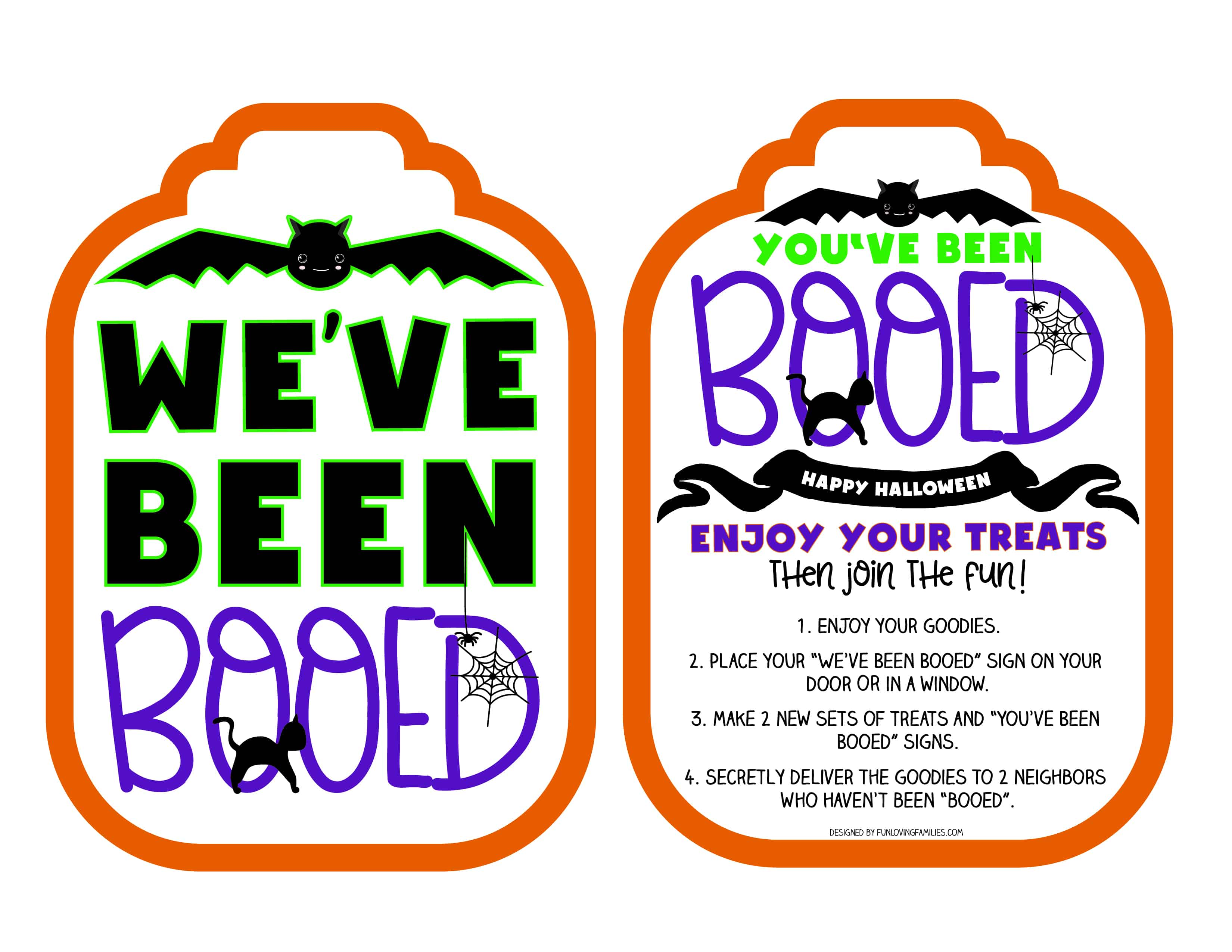 """""""Boo"""" your neighbors with some fun Halloween goodies. Grab these free printable You've Been Booed signs and some candy, and spread Halloween cheer!"""