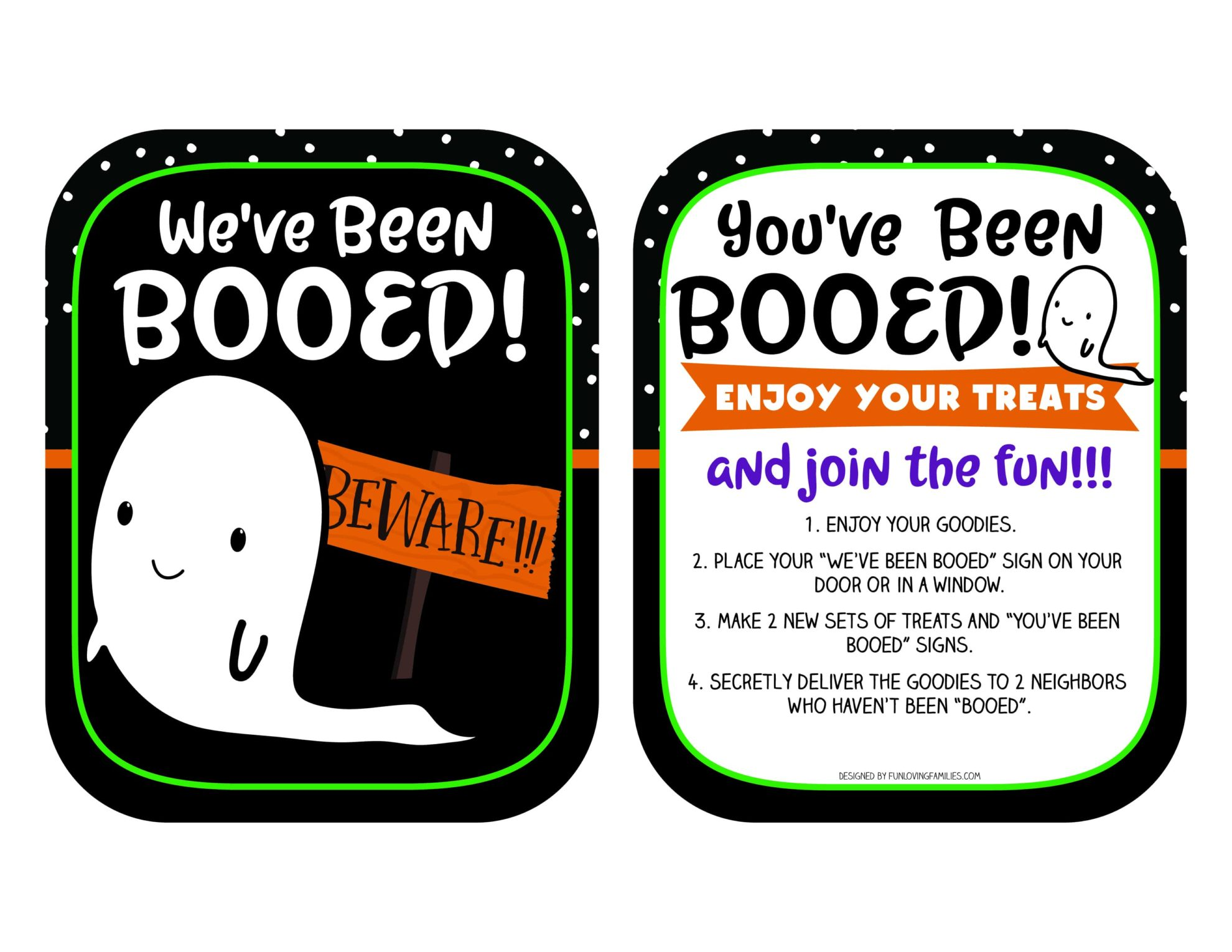 Print these new You've been booed and We've been booed signs for some Halloween fun around the neighborhood. Click through to learn how to play the game.