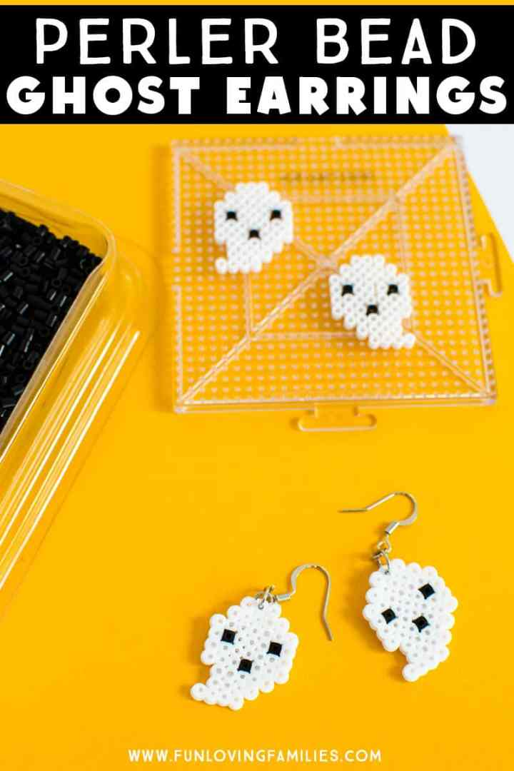 Make these adorable Perler bead ghost earrings for Halloween this year! Click throug for the full tutorial. #halloweencrafts #tweencrafts #ghostcrafts #perlerbeads #meltybeads #fusebeads