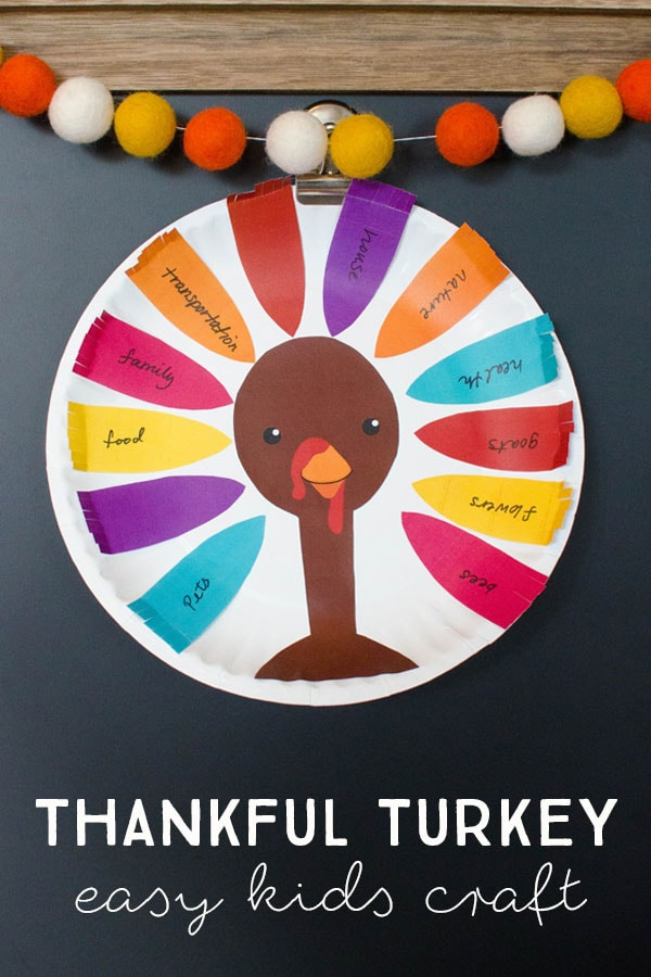 Use colorful paper or our free printable to make these Thankful Turkey kids crafts for Thanksgiving. #thanksgivingkidscraft #thanksgivingcraft #thankfulturkey #freeprintable #thanksgivingprintable #thanksgivingpapercraft #thankfulcraft #funlovingfamilies