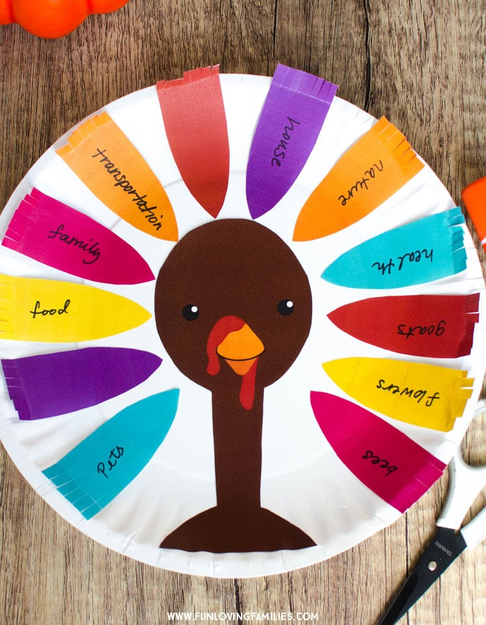 Make a Thankful Turkey craft with the kids for a fun activity that also teaches gratitude. Grab the free printable to make it easier. #easythanksgivingcraft #thanksgivingkidscraft #thanksgivingkidsactivities #thankfulcraft #gratitudeactivity