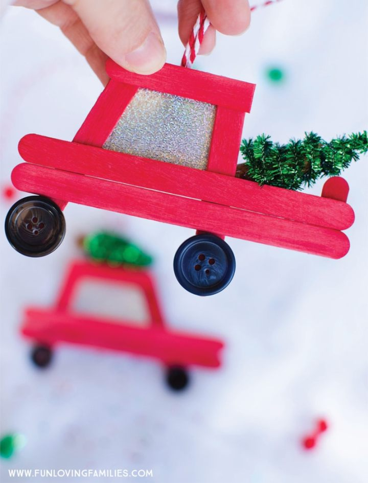 Diy Car And Truck Popsicle Stick Christmas Ornaments Fun Loving Families