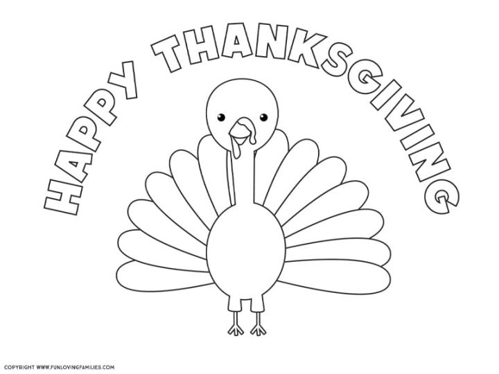 Cute turkey coloring page printable with Happy Thanksgiving text