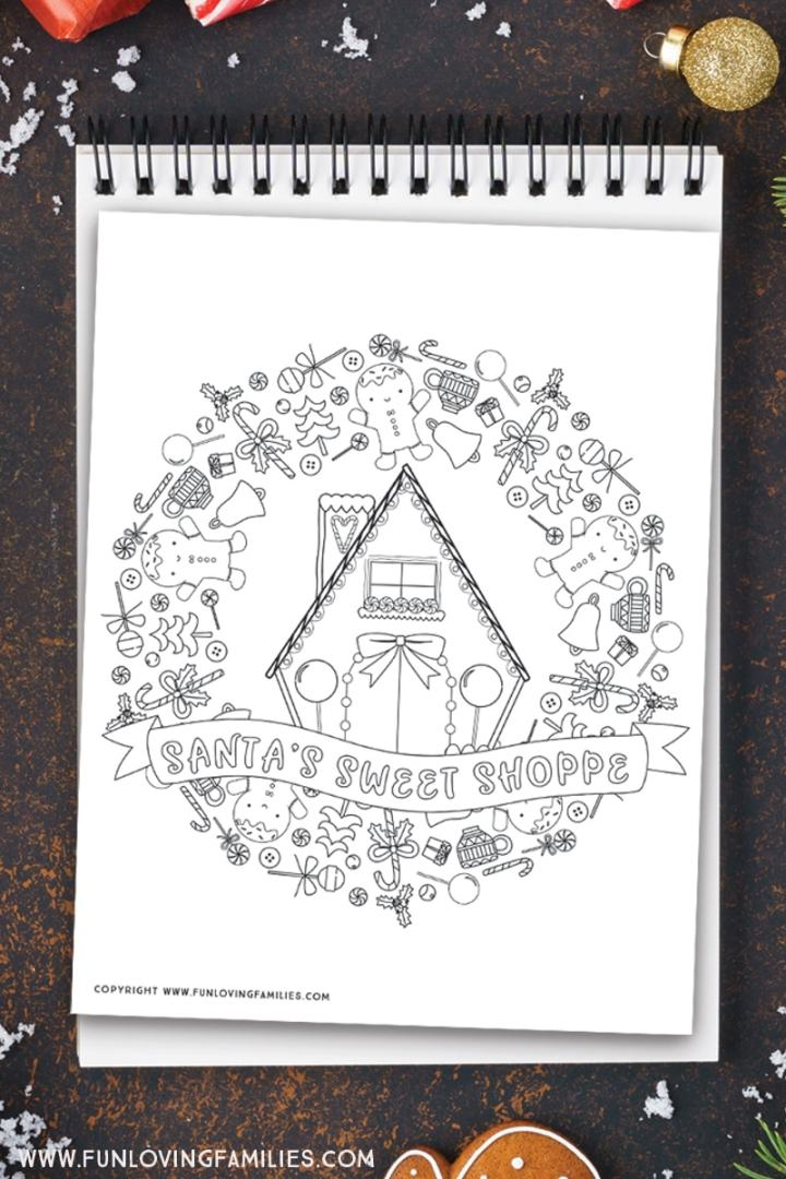 Christmas coloring page with Santa's sweet shoppe and gingerbread men
