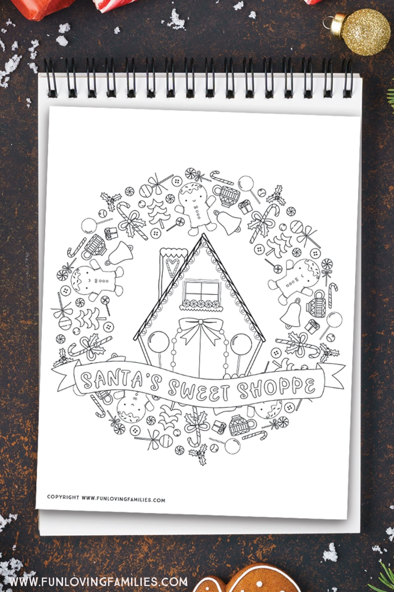 Free printable PDF gingerbread house coloring pages. I love this Santa's Sweet Shop coloring sheet! This would be fun to color with the kids over the Christmas break! #christmasprintables #adultcoloringpages #christmascoloringpages #holidaycoloring
