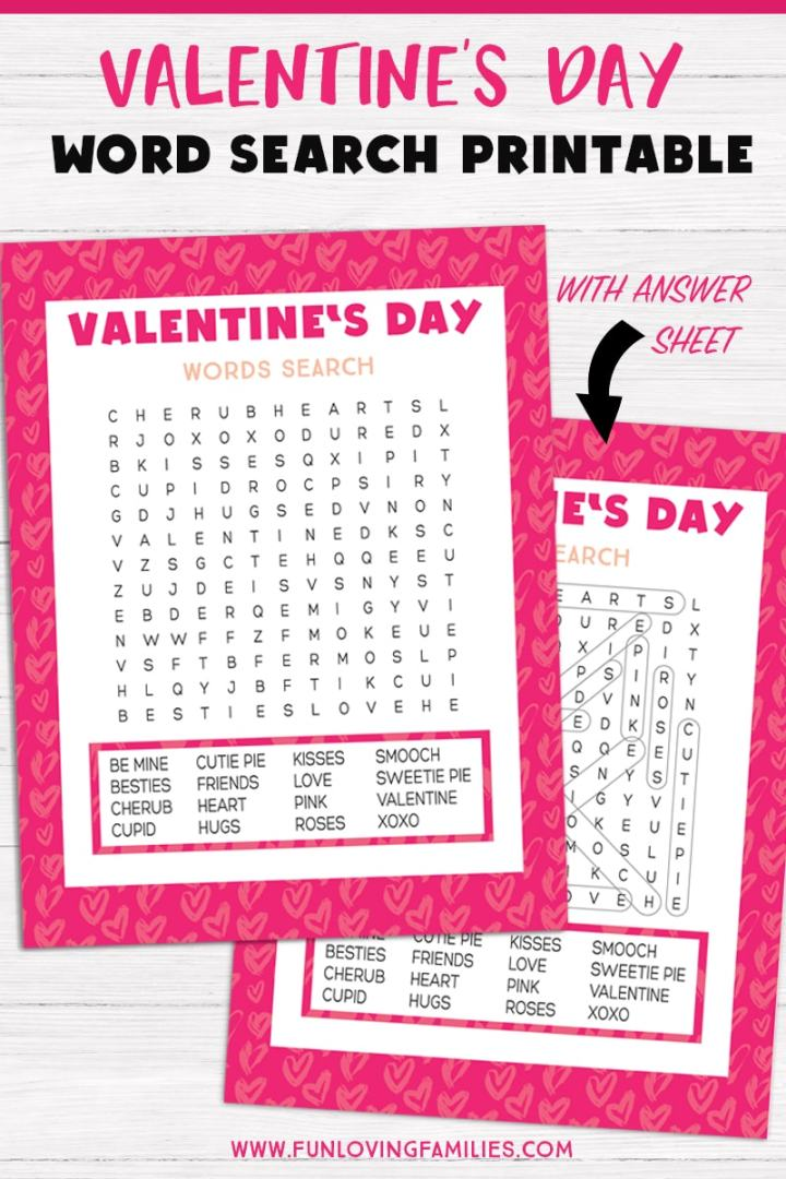 Valentine's Day word search printable with answer sheet
