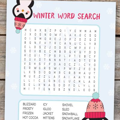 Winter Word Search Free Printable Kids Activity
