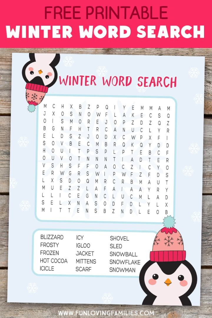 winter word search printable with cute penguins