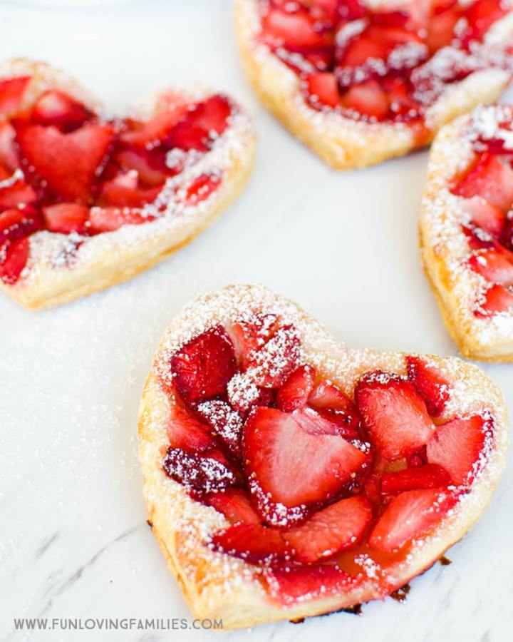 See how easy it is to make these puff pastry strawberry heart treats for the kids.