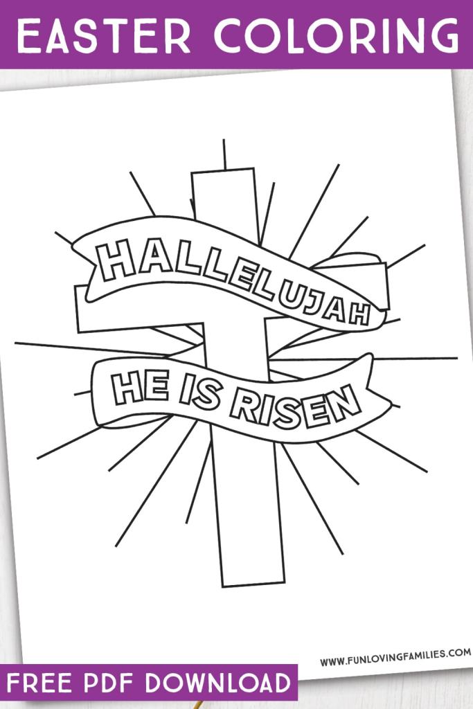 hallelujah He is Risen Religious Easter Coloring Pages for Kids