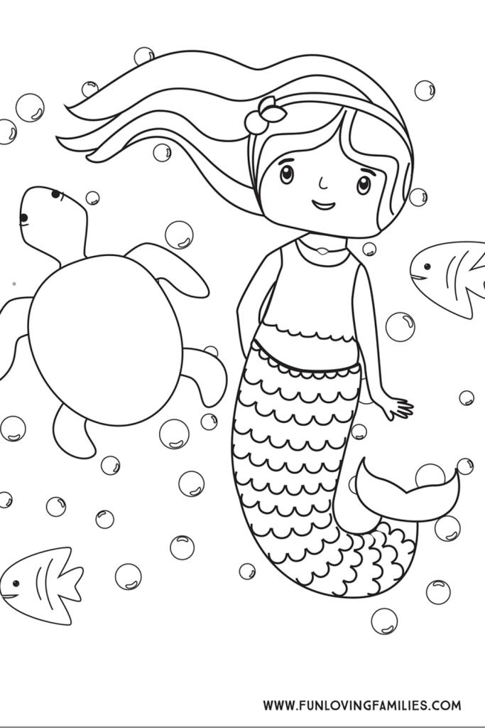 Cartoon ~ Printable Baby Mermaid Coloring Pages ~ Coloringtone Book | 1024x683