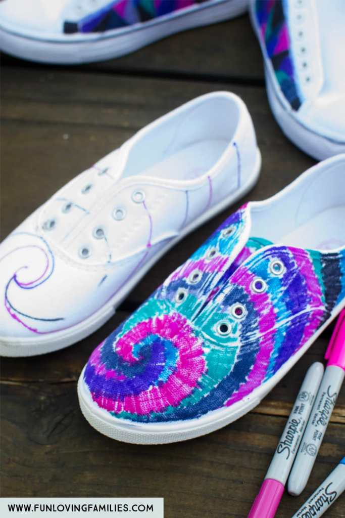 shoes with spiral sharpie marker designs