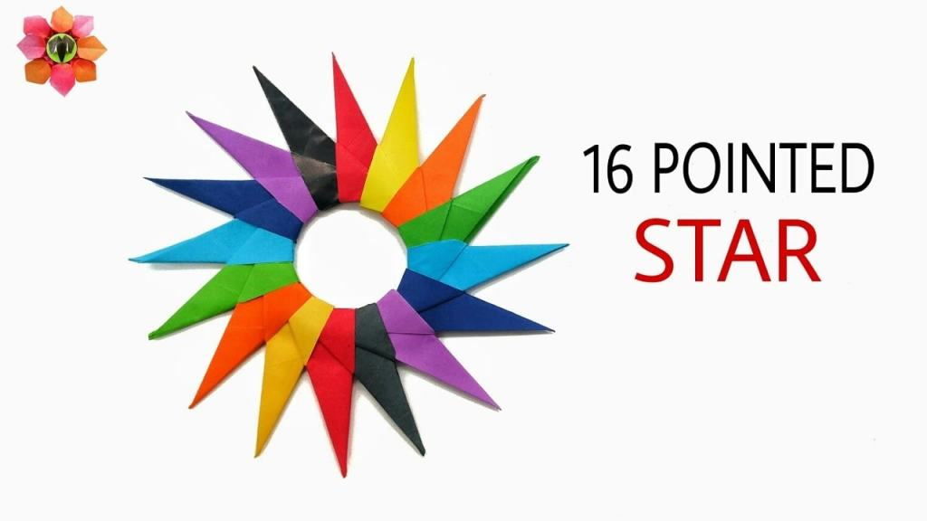 colorful 16 pointed paper star