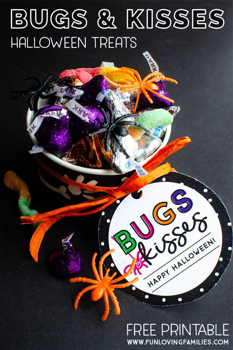 Bugs and Kisses printable Halloween treat tags