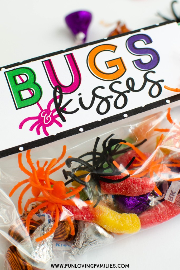 Bugs and Kisses free printable label for party favor or treat bag.