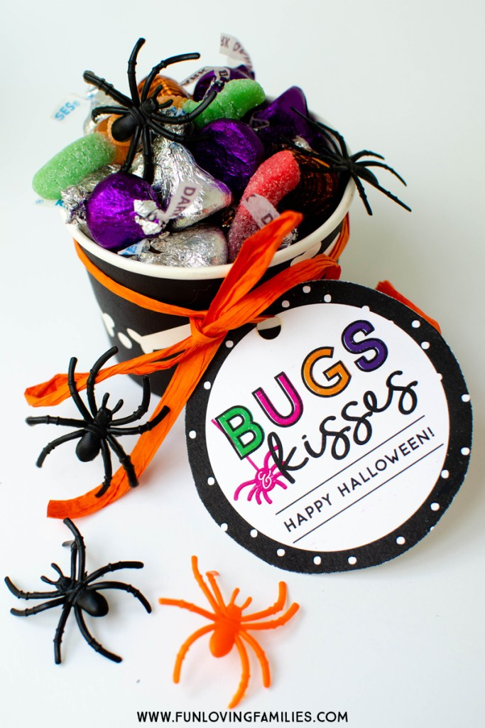 Cute Halloween party favor idea with Bugs and Kisses free printable
