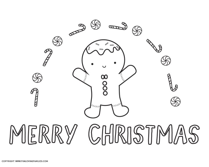 Merry Christmas Gingerbread man coloring page