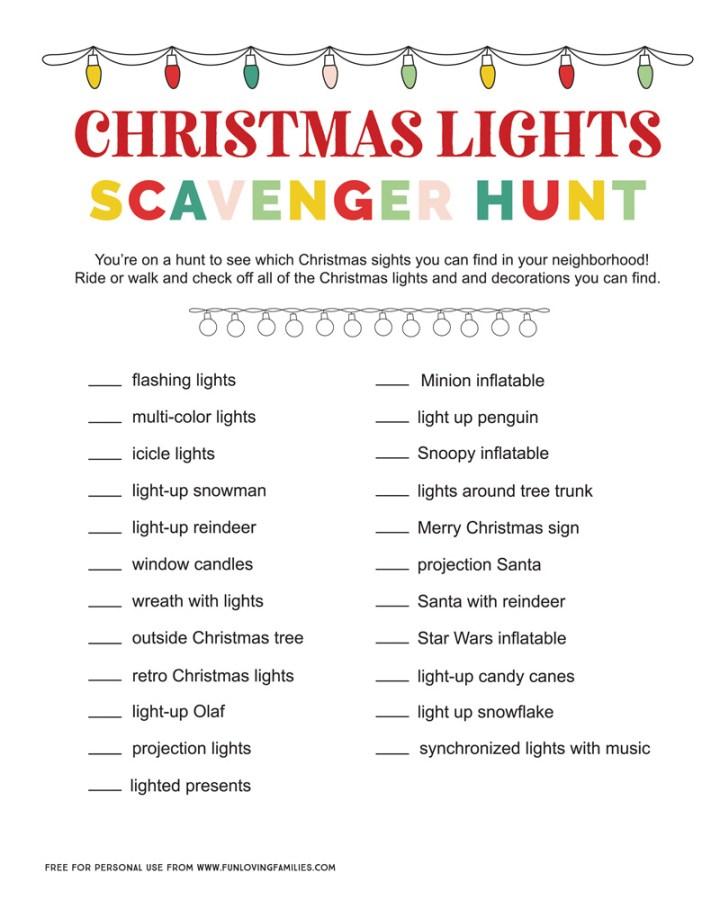 Christmas Light Scavenger Hunt Printable