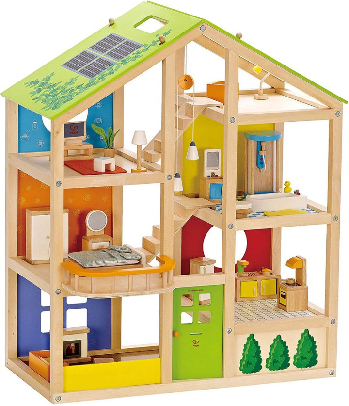 wooden gender neutral doll house for kids