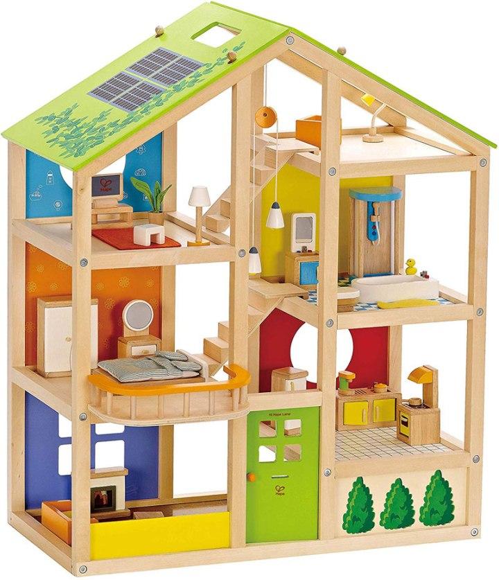 wooden gender neutral doll house for kids