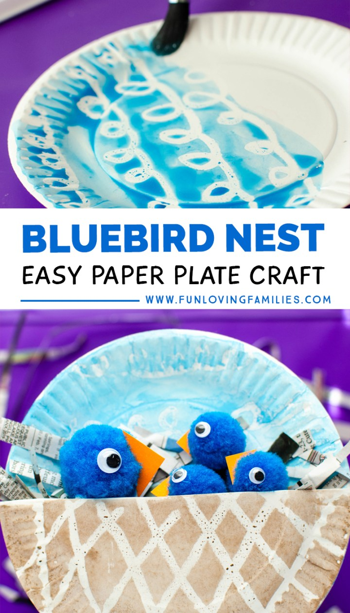 paper plate bluebird nest craft with pom pom birds