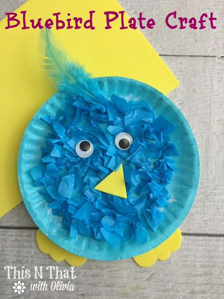 paper plate bluebird spring kids craft