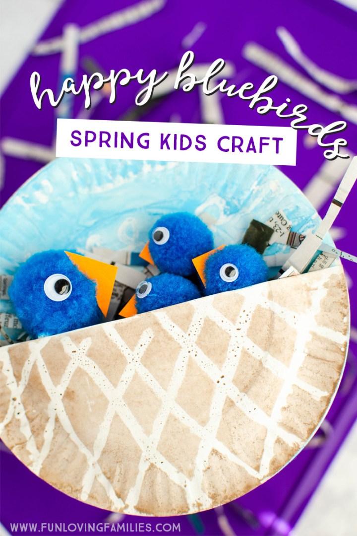 cute bluebirds in nest spring kids craft