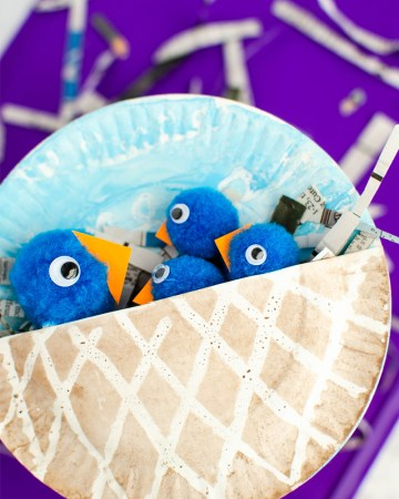 pom pom bluebirds and paper plate nest kids craft
